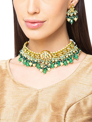 Green Gold Tone Kundan Necklace And Earrings With Agate And Pearls