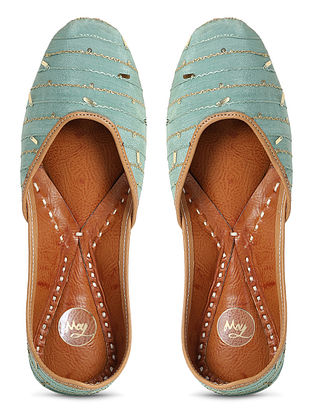 Sea Green Handcrafted Georgette Juttis