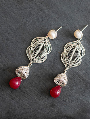Red Silver Jhumki Earrings