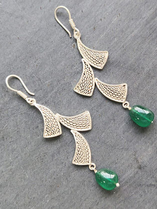 Green Filigree Silver Earrings