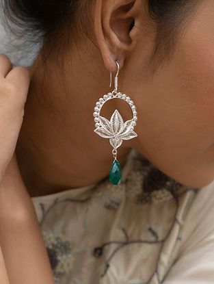 Green Onyx Filigree Silver  Earrings