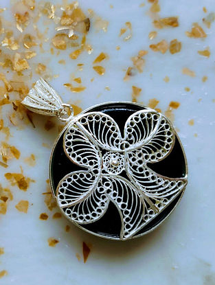 Black Filigree Silver Pendant