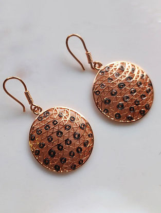 Rose Gold Filligree Silver Earrings