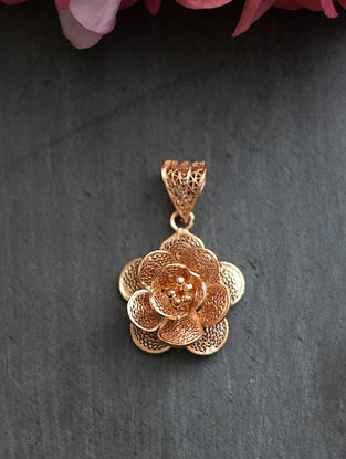 Rose Gold Filligree Silver Pendant