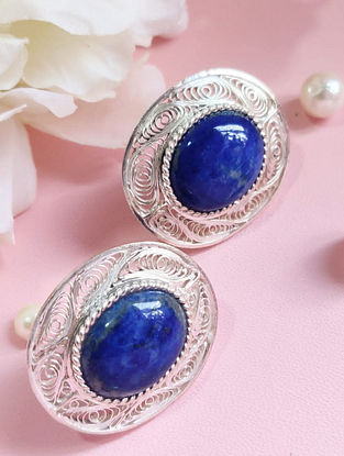 Blue Filigree Silver Earrings