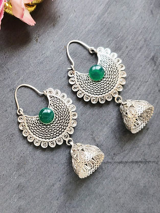 Green Filigree Silver Jhumki Earrings
