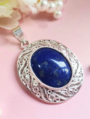 Blue Filigree Silver Pendant