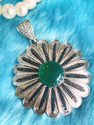 Green Filigree Silver Pendant