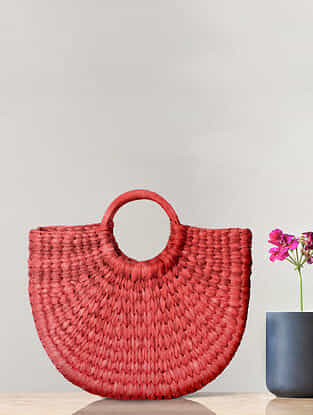 Cherry Red Handcrafted Kauna Grass Tote Bag