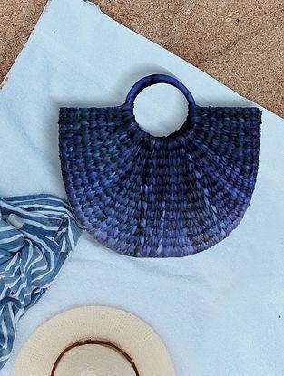 Blue Handcrafted Kauna Grass Tote Bag