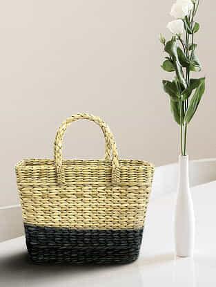 Beige Indigo Handcrafted Kauna Grass Tote Bag