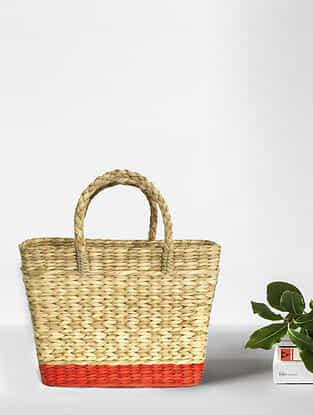 Beige Orange Handcrafted Kauna Grass Tote Bag