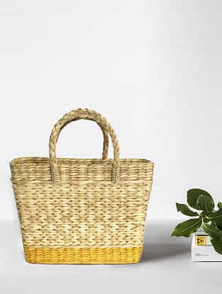 Beige Yellow Handcrafted Kauna Grass Tote Bag