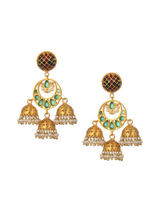 Green Gold Plated Handcrafted Jhumki Earrings With Pearls
