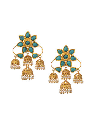 Turquoise Gold Plated Handcrafted Jhumki Earrings With Pearls