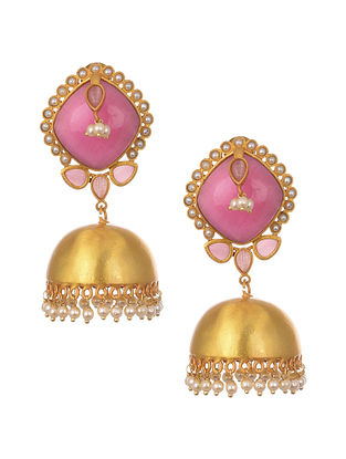 Pink Gold Plated Handcrafted Jhumki Earrings