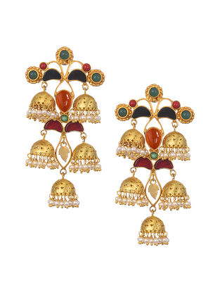 Multicolored Gold Plated Handcrafted Jhumki Earrings With Pearls