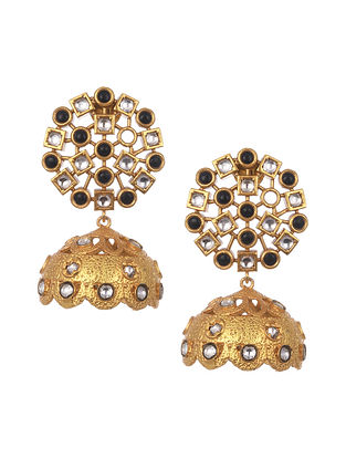 Black Gold Plated Handcrafted Jhumki Earrings