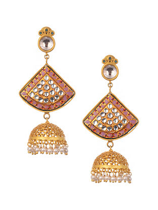 Pink Gold Plated Enameled Jhumki Earrings With Pearls