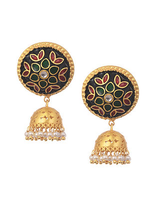 Black Red Gold Plated Enameled Jhumki Earrings With Pearls