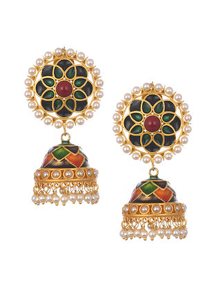 Multicolored Gold Plated Enameled Jhumki Earrings With Pearls
