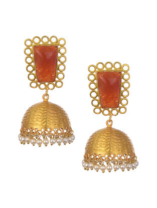 Orange Gold Plated Handcrafted Jhumki Earrings With Pearls