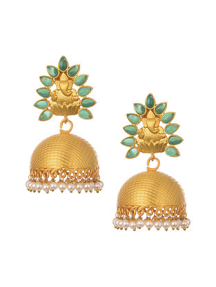 Green Gold Plated Temple Work Jhumki Earrings With Pearls