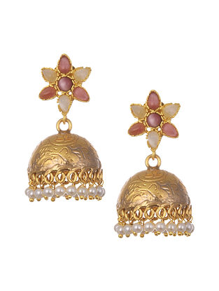 Pink White Gold Plated Handcrafted Jhumki Earrings With Pearls