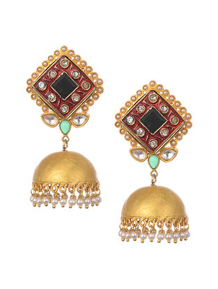 Red Black Gold Plated Kundan Jhumki Earrings With Pearls