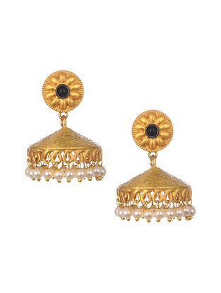 Black Gold Plated Handcrafted Jhumki Earrings With Pearls