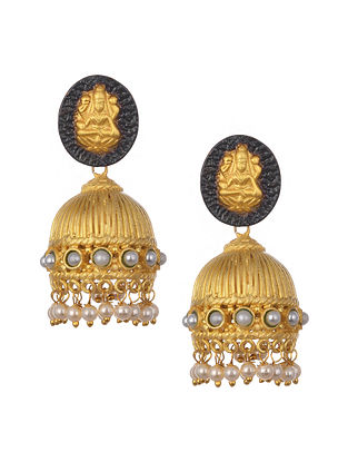 Gold Plated Temple Work Jhumki Earrings With Pearls
