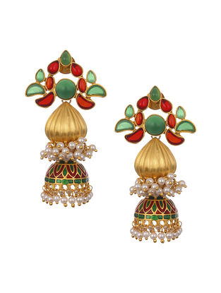 Green Red Gold Plated Handcrafted Jhumki Earrings With Pearls
