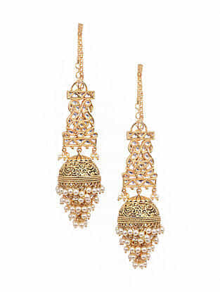 Gold Tone Kundan Jhumki Earrings And Earchains With Pearls