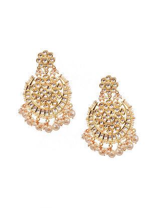 Gold Tone Kundan Chandbali Earrings With Pearls