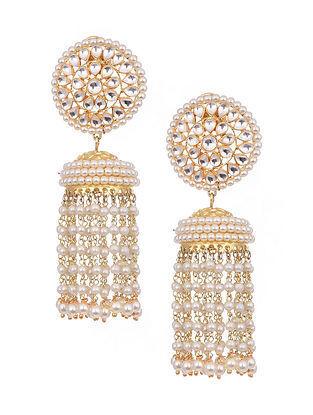 Gold Tone Kundan Beaded Jhumki Earrings With Pearls