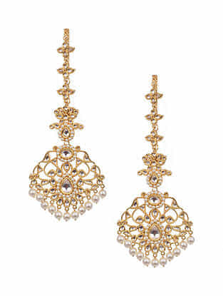 Gold Tone Kundan Earrings And Earchains With Pearls
