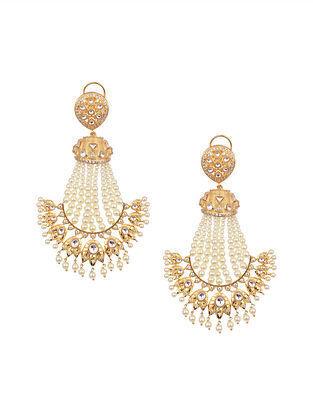 Gold Tone Kundan Beaded Earrings With Pearls
