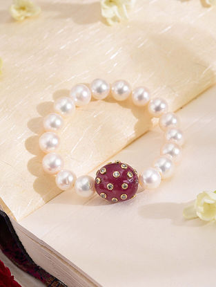 Gold Polki Bracelet with Ruby and Pearls