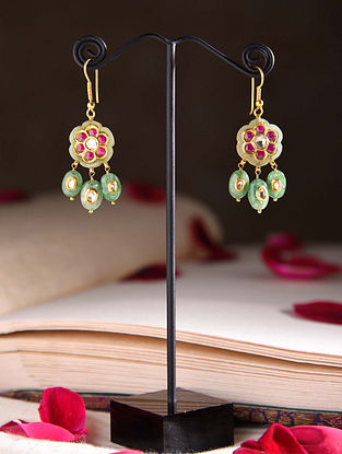 Gold Polki Earrings with Jade and Ruby