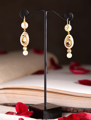 Gold Polki Earrings with Diamonds