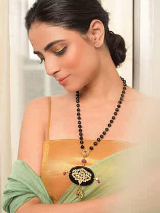 Gold Polki Necklace with Black Onyx