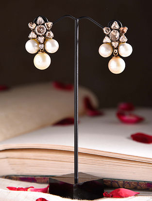 Gold Polki Earrings with South Sea Pearl