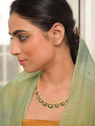 Gold Polki Necklace with Diamond and Pearls