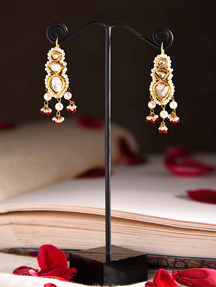 Gold Polki Earrings with Pearls