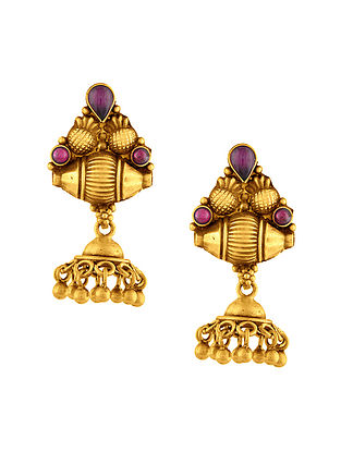 Red Gold Plated Sterling Silver Earrings