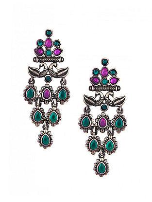 Maroon Green Sterling Silver Earrings