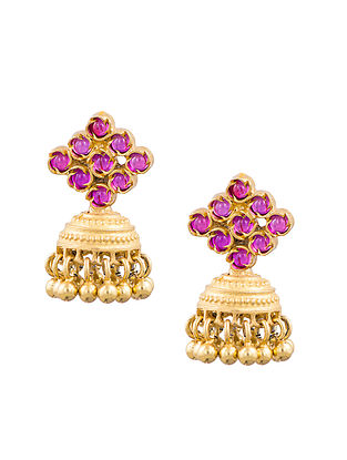 Red Gold Plated Sterling Silver Jhumki Earrings