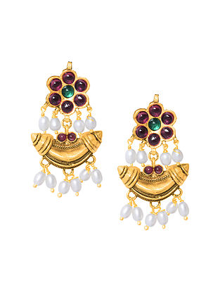 Red Green Gold Plated Sterling Silver Earrings with Pearls