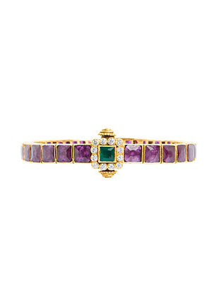 Pink Green Gold Plated Sterling Silver Bangle (Size: 2/4)