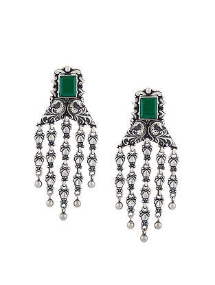 Green Sterling Silver Earrings